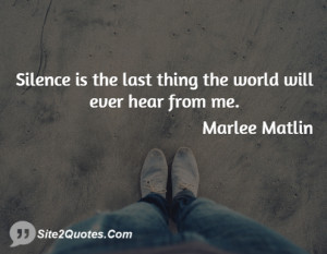 Silence is the last thing the world will ever hear from me.