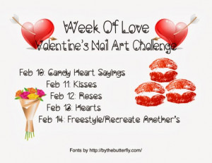 Week of Love Day One Candy Heart Sayings nail art