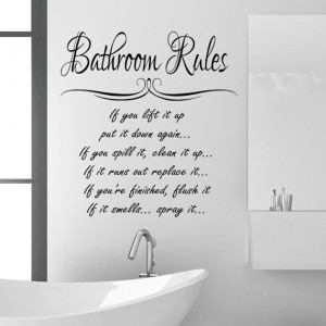 Bathroom Rules Wall Sticker Quote funny Vinyl Decal Graphic Transfer ...