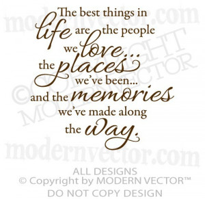 ... THINGS IN LIFE Quote Vinyl Wall Decal Inspirational LOVE, MEMORIES