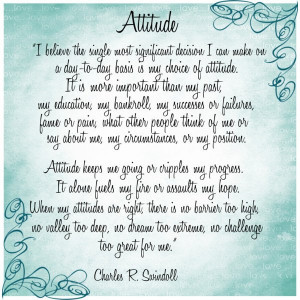 "quote about Attitude by Charles R. Swindoll…""I believe the ..."