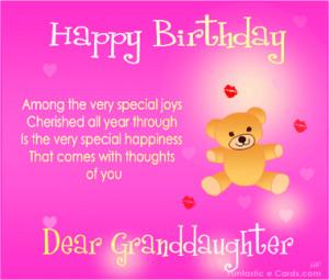 Happy Birthday Granddaughter Verses