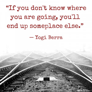 If you don't know where you are going, you'll end up someplace else ...