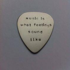 Hand stamped personalised metal plectrum - music is what feelings ...