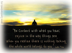 Be content - Lao Tzu quote