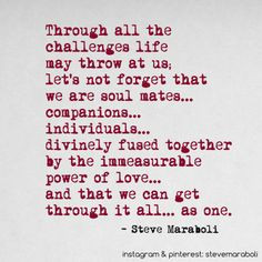 challenges life may throw at us; let's not forget that we are soul ...