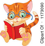 Cartoon Of A Cute Ginger Cat Wearing Glasses And Reading A Book ...
