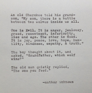 Cherokee Grandfather and Wolf Quote Typed on Typewriter