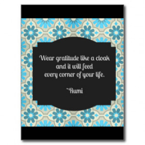 Gratitude Rumi Quote Postcard