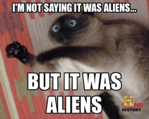 history channel aliens funny cat