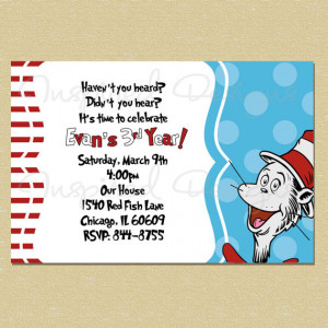 Dr. Suess Cat in the Hat- Birthday Invitation - Any Age