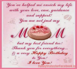 Happy Birthday MOM Facebook Status Messages,Quotes Wishes and Sayings ...