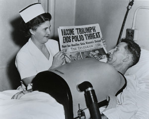 ... Vaccine Triumph Ends Polio Threat for a man using a chest respirator