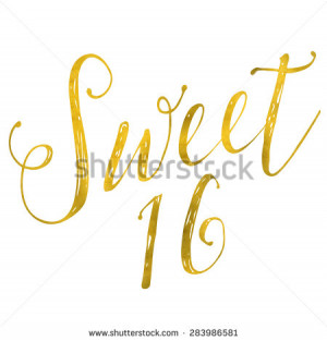 Sweet 16 Birthday Gold Faux Foil Metallic Glitter Inspirational Quote ...