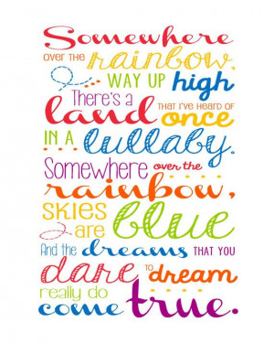 Somewhere Over the Rainbow - song lyrics made into wall art: Wall Art ...