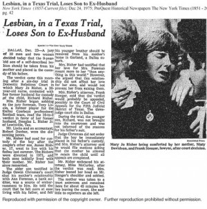 Lesbian custody cases were national stories, and made newspaper ...
