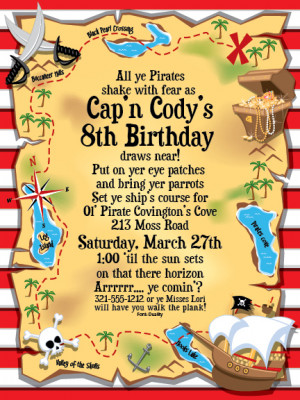 Treasure Map Invitation - Its a pirates party! This invitation is ...