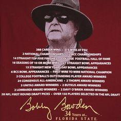 Florida State Seminoles (FSU) Garnet Bobby Bowden Tribute T-shirt
