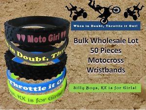 Wristband-Lot-Dirtbike-Bracelets-Motocross-50-PCS-Tire-Funny-Quotes-MX