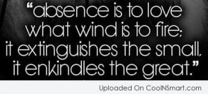 Absence Quote: Absence is to love what wind is...