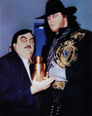 Paul Bearer with his and the Undertaker's and Kane's urn legendary ...