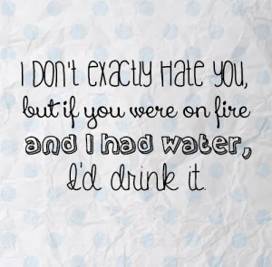 don',t exactly hate you, but if you were on fire and I had water, I ...