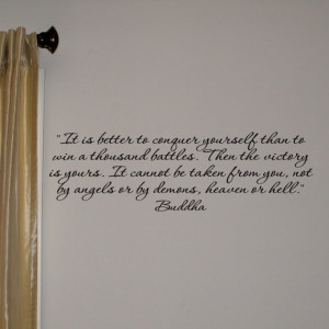 Buddha vinyl wall quote Conquer Yourself by daydreamerdesign, $18.20