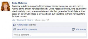 ... Reba remedied that with a personal message on Facebook which came