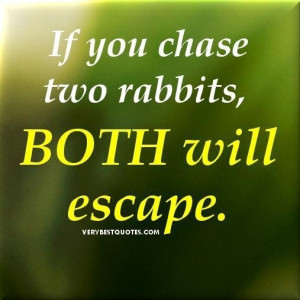 Focus quotes if you chase two rabbits both will escape.
