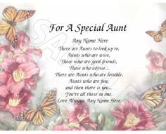 For a special aunt personalized print poem memory birthday mothers day ...