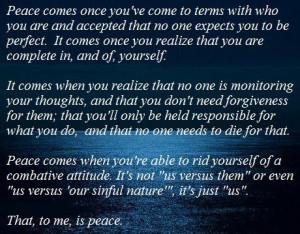 am at peace.