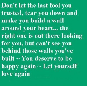 you trusted tear you down and make you build a wall around your heart ...
