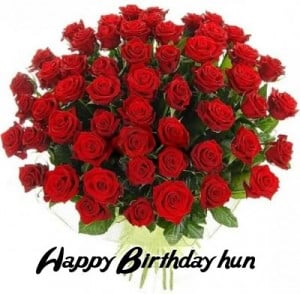 Wishing birthday with red roses