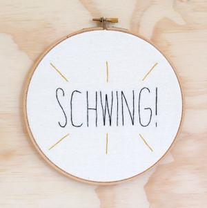 Schwing Wayne's World hand embroidered hoop art, wall art, movies.