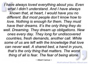 have always loved everything about you albert camus