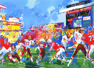 leroy neiman nieman in the pocket football redskins broncos