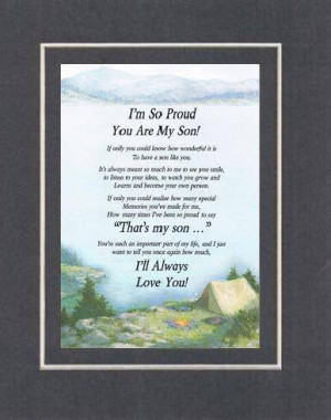 So Proud You Are My Son Poem On 11 X 14 Nches Double Beveled Matting ...