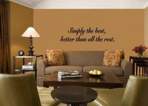 Black Simply The Best 2 (Tina Turner) Lyric wall decal over a sofa