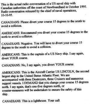 Funny photos funny US naval ship Canada radio conversation letter