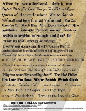 Alice in Wonderland Quotes and other related words - Instant Download ...