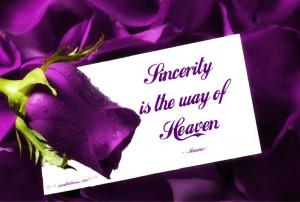 SINCERITY...