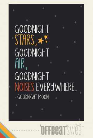 Goodnight Moon Children's Book Quote Typography by offbeatsweet