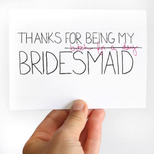 Thanks For Being My Bridesmaid Card. Bridesmaid Thank You Card. Pink ...