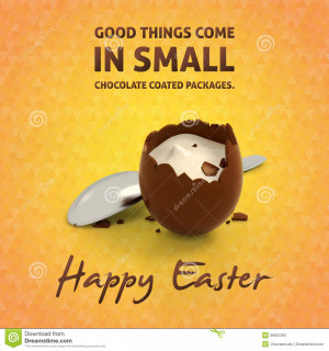 Happy Easter eggs quotes and illustration of crashed chocolate egg ...