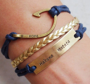 Engraved quote bracelet, quote bracelet, id bracelet, fish hook ...