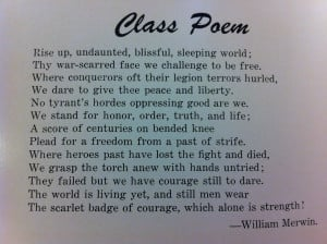 ... Merwin, penned the senior class poem for 1944, his year of graduation