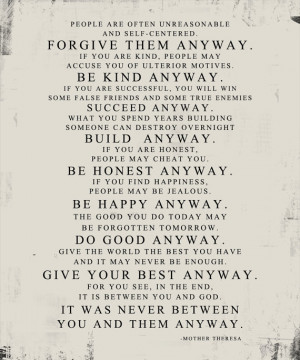 Originally from Jesus - Matthew 5:3 - 12 Mother Theresa Quote Forgive ...