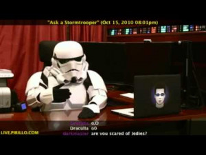 So that's why Chriss Pirillo is wearing his Storm Trooper suit.