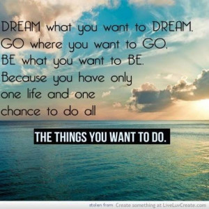 only one life and one chance to do all the things you want to do