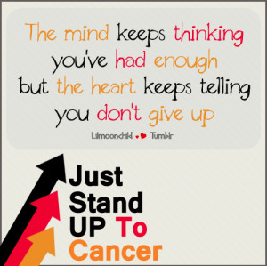believe, cancer, fight, give up, heart, mind, quote, stand up ...